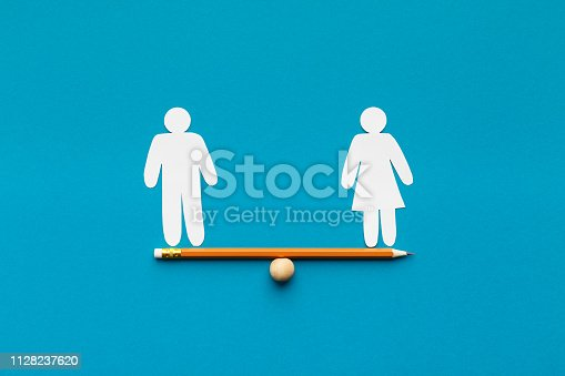 istock Drawn scales with words man and woman 1128237620