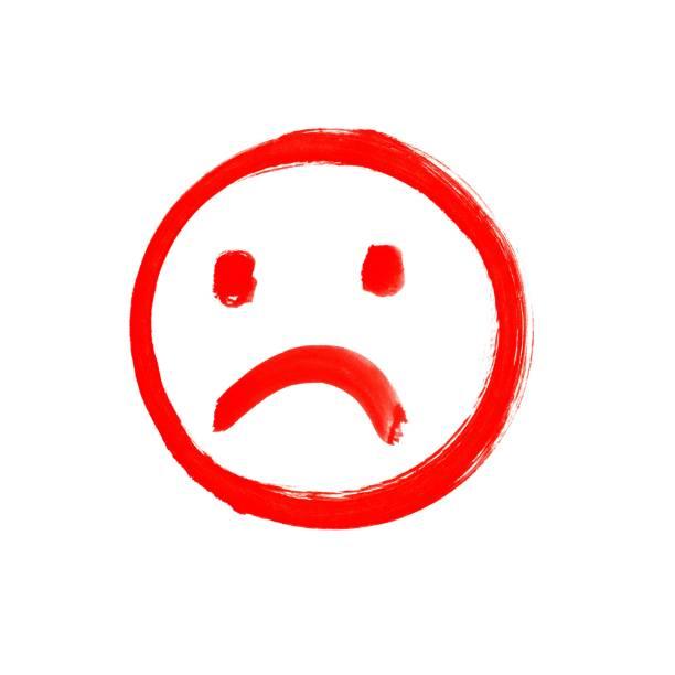 unglückliche gesicht rot gezeichnet - foto tusche stock-fotos und bilder