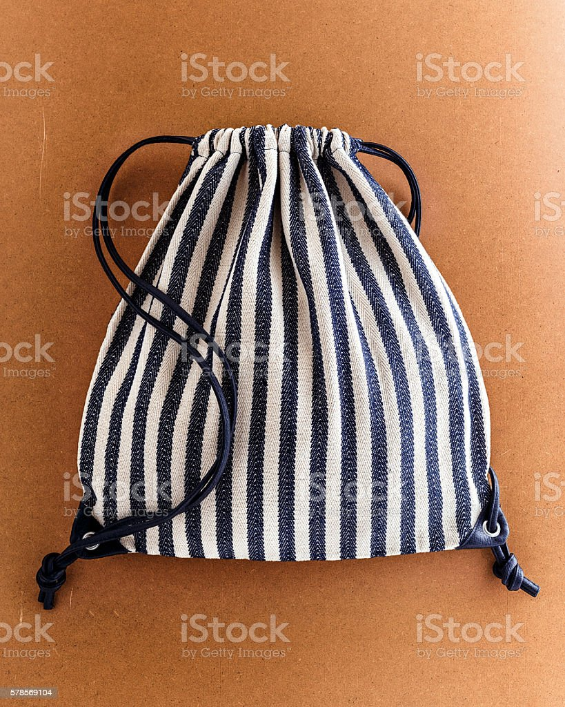Drawstring backpack stock photo