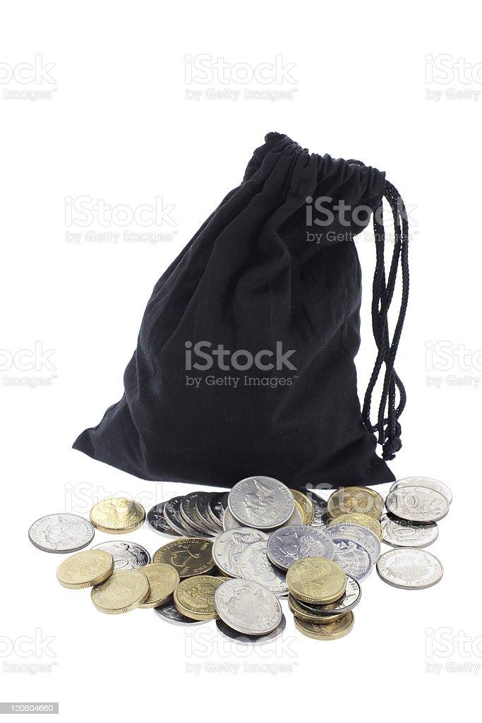 Drawstring Bag and Coins stock photo