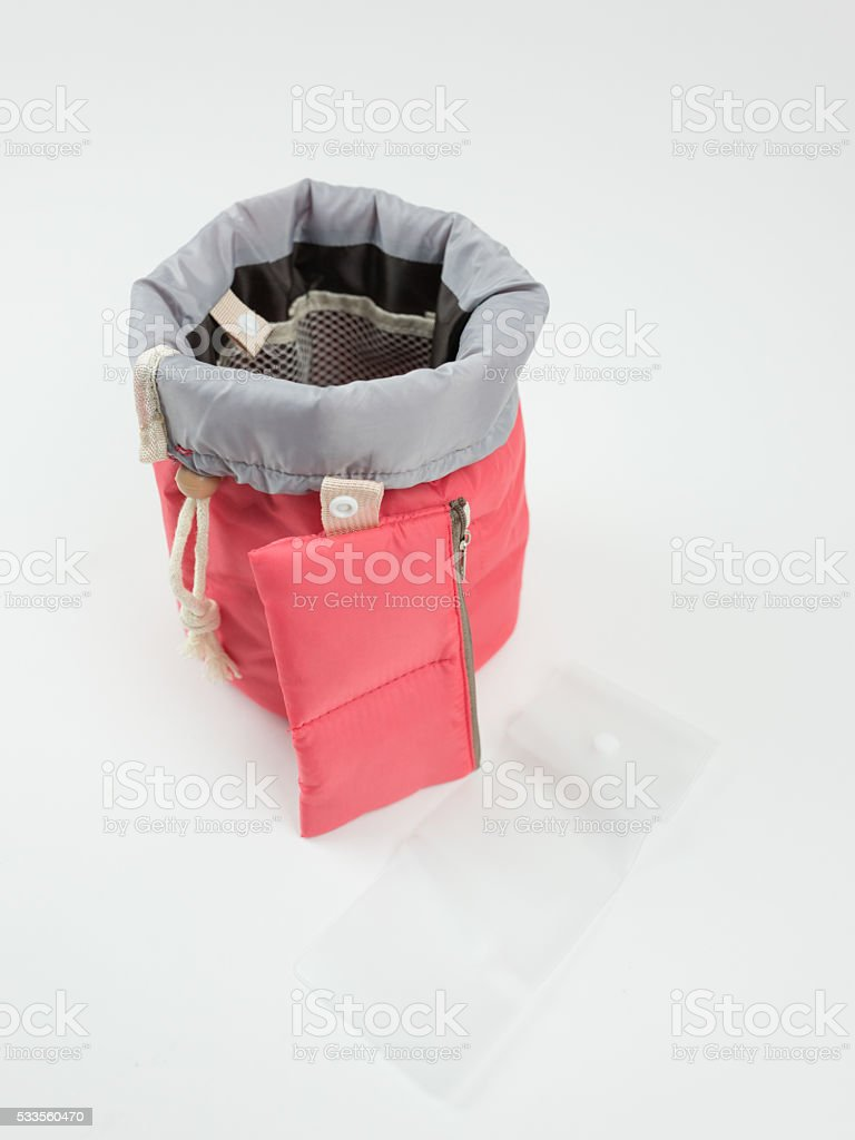 Drawstring toiletry bag stock photo