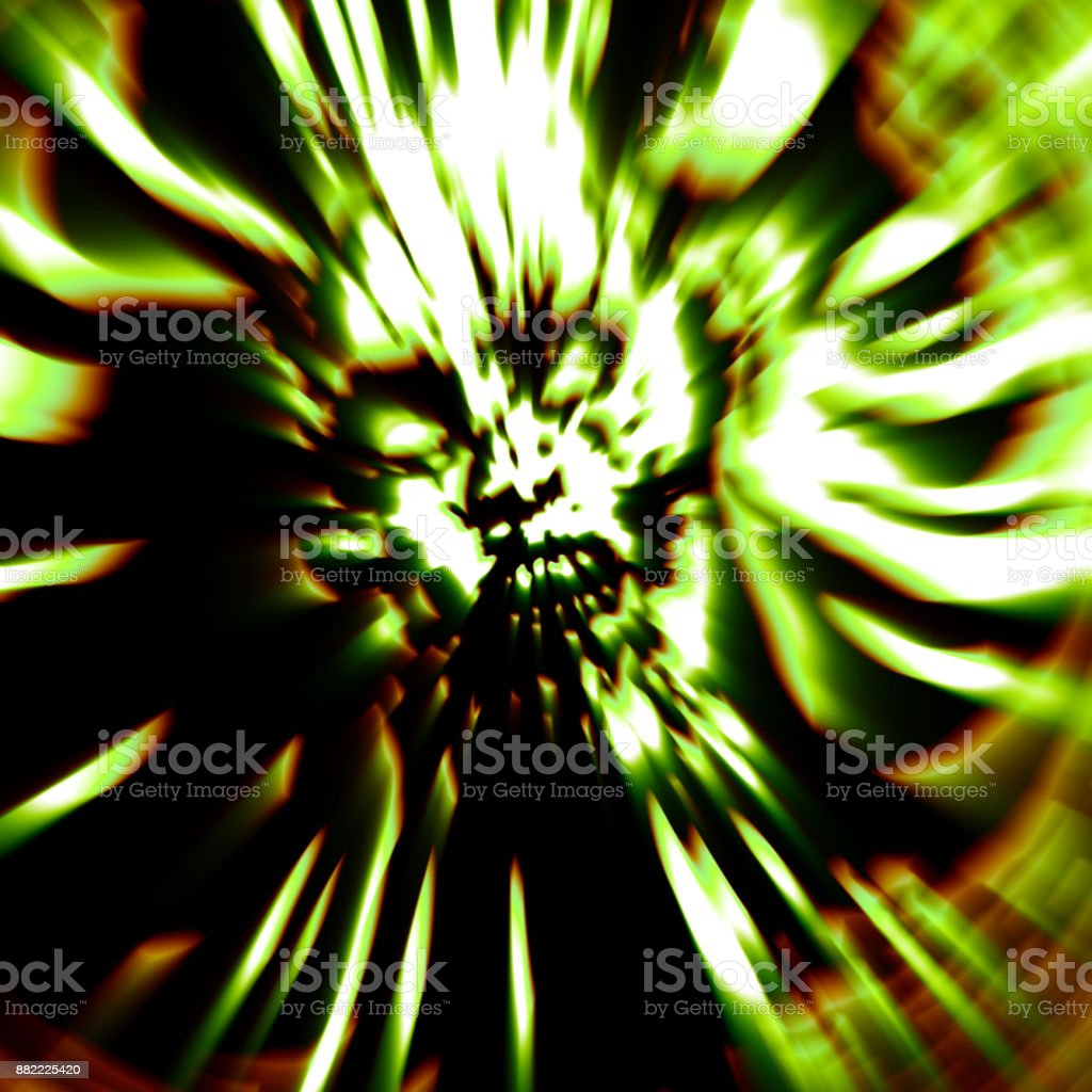 Dreadful head of zombie girl. Illustration in green color. stock photo