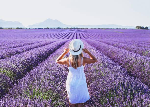 Traum und Inspiration, glückliche Frau Sommer im Lavendelfeld – Foto