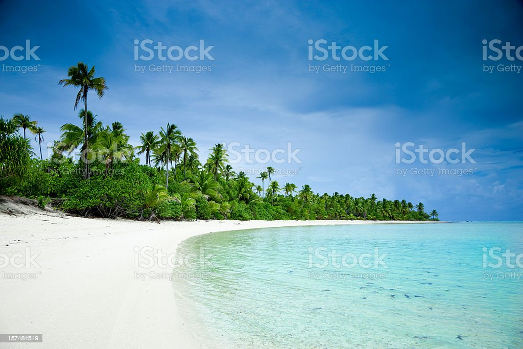 Dream Beach Aitutaki One Foot Island Cook Islands stock photo