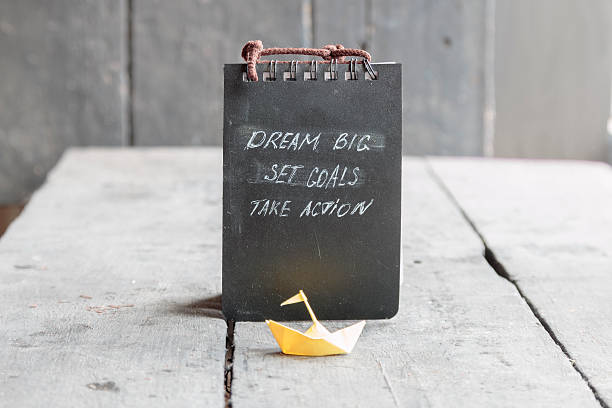 Dream Big - Set Goal - Take Action, motivational quote stock photo