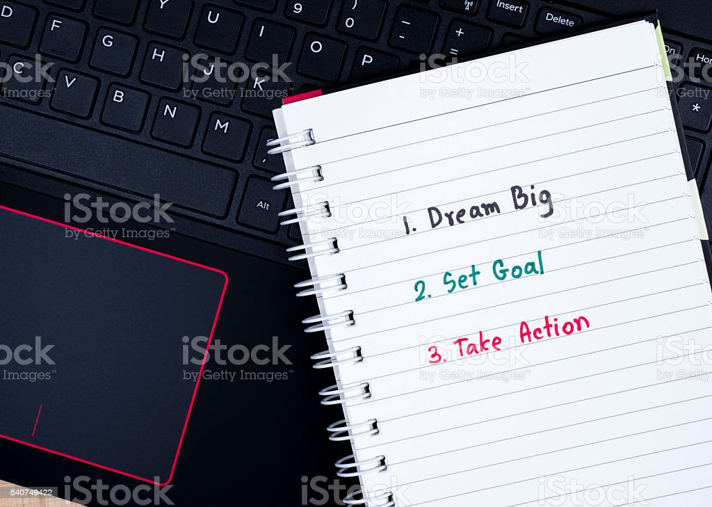 Dream Big, Set Goal, Take Action on laptop keyboard 1 stock photo
