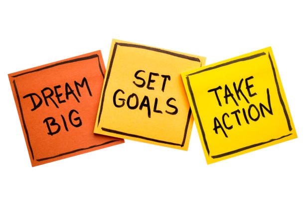 dream big, set goals, take action concept dream big, set goals, take action concept - motivational advice or reminder on colorful sticky notes isolated on white encouragement stock pictures, royalty-free photos & images