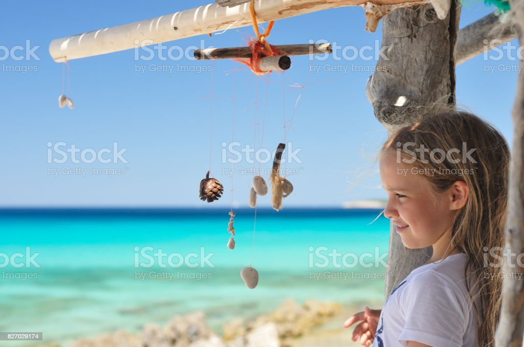 Dream catcher and a girl stock photo