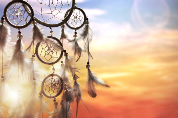 Dream catcher at sunset stock photo