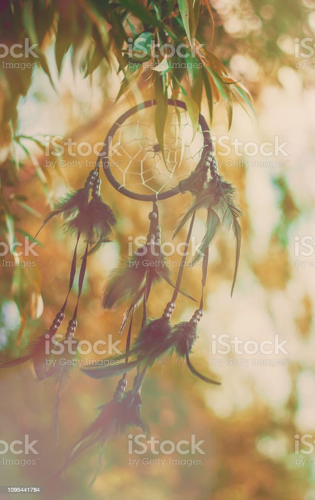Dream catcher in a vintage style. Selective focus. stock photo