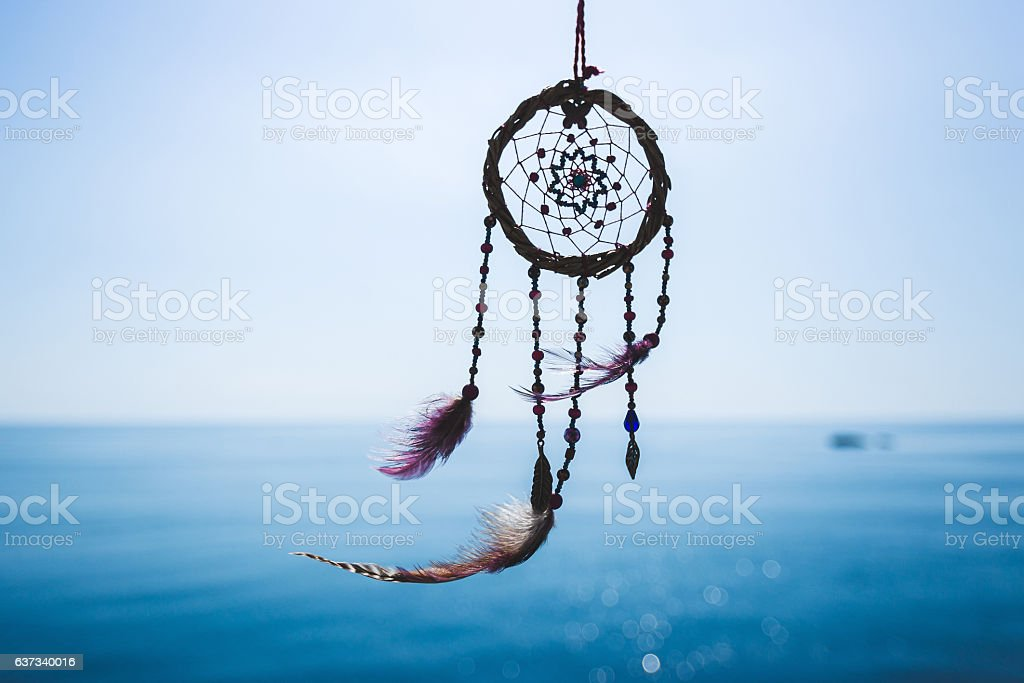Dream catcher on the sea background stock photo