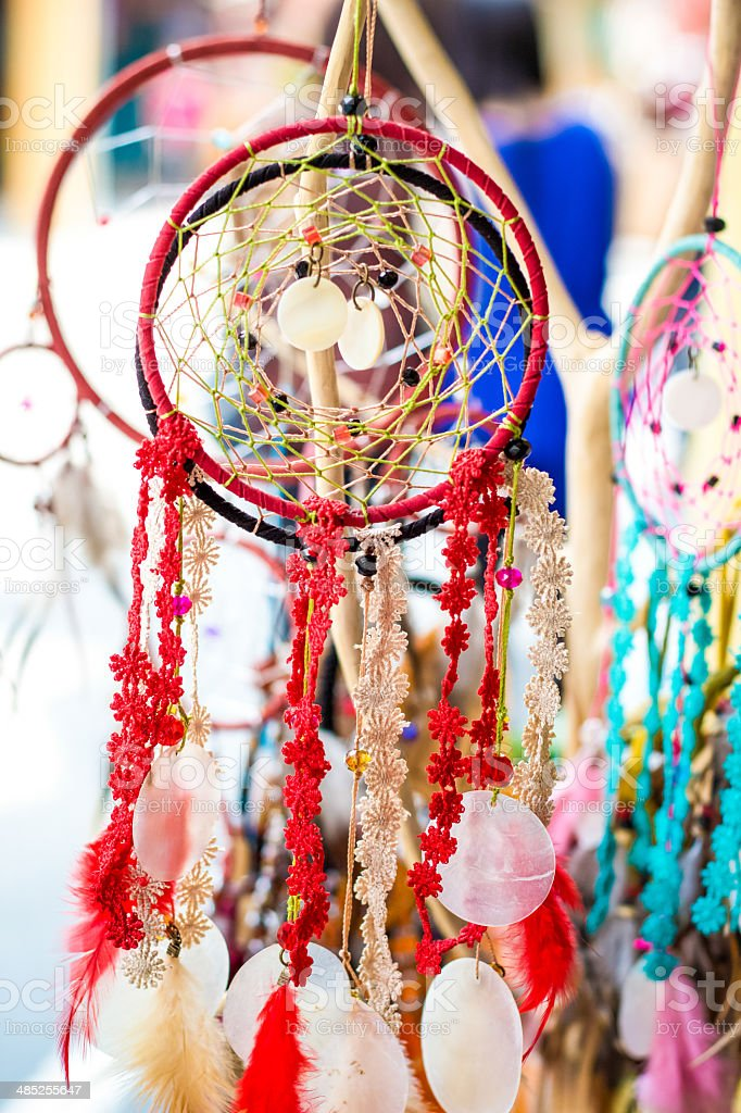 Dream catcher selling market stock photo