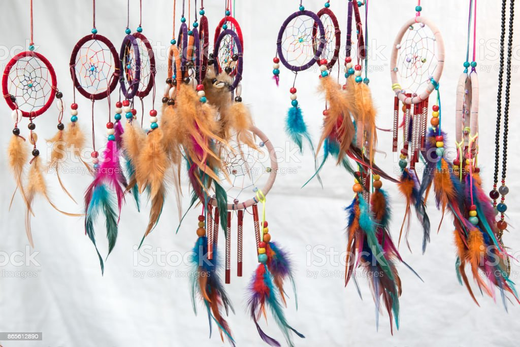 dream catchers on white background stock photo