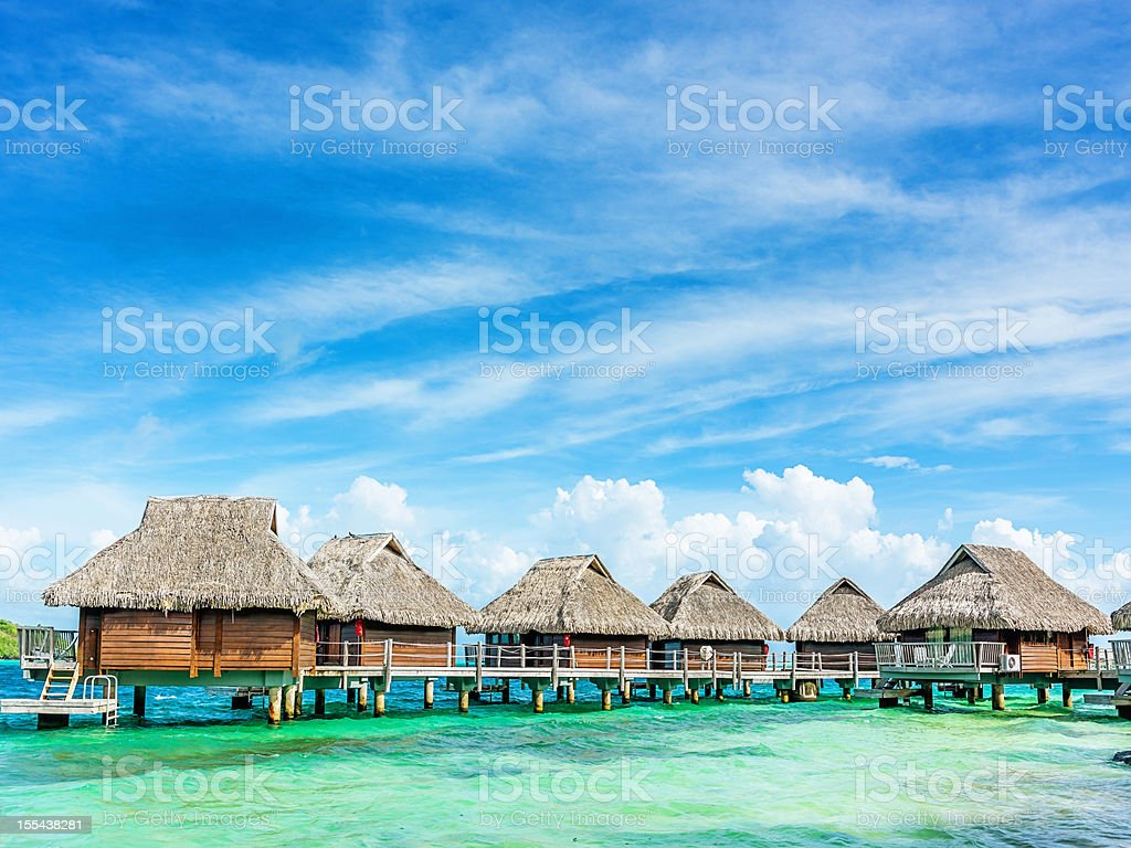 Dream Holiday Luxury Hotel Resort Beach Huts royalty-free stock photo