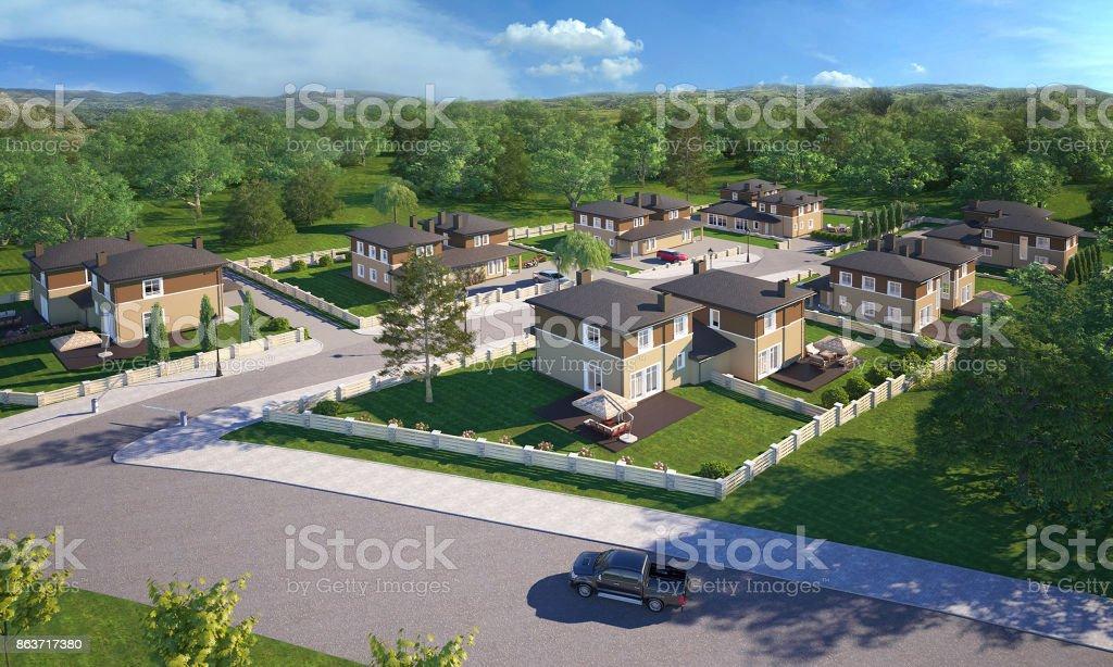 Dream House 3d render stock photo