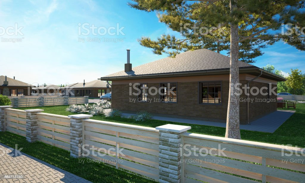 Dream house cottage 3d render stock photo