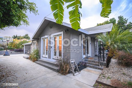 House with porch and garden in suburbs of Los Angeles.