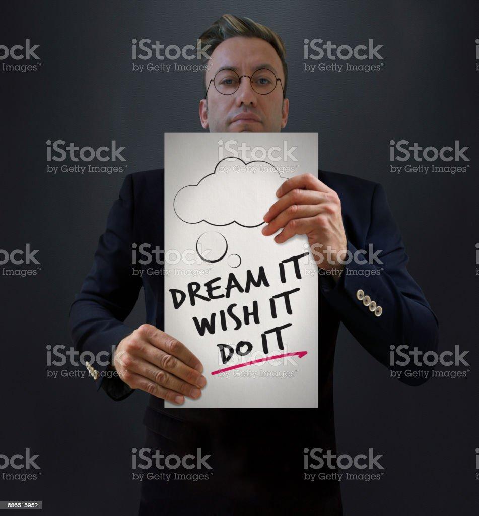 Dröm, önskar det, göra det. royaltyfri bildbanksbilder