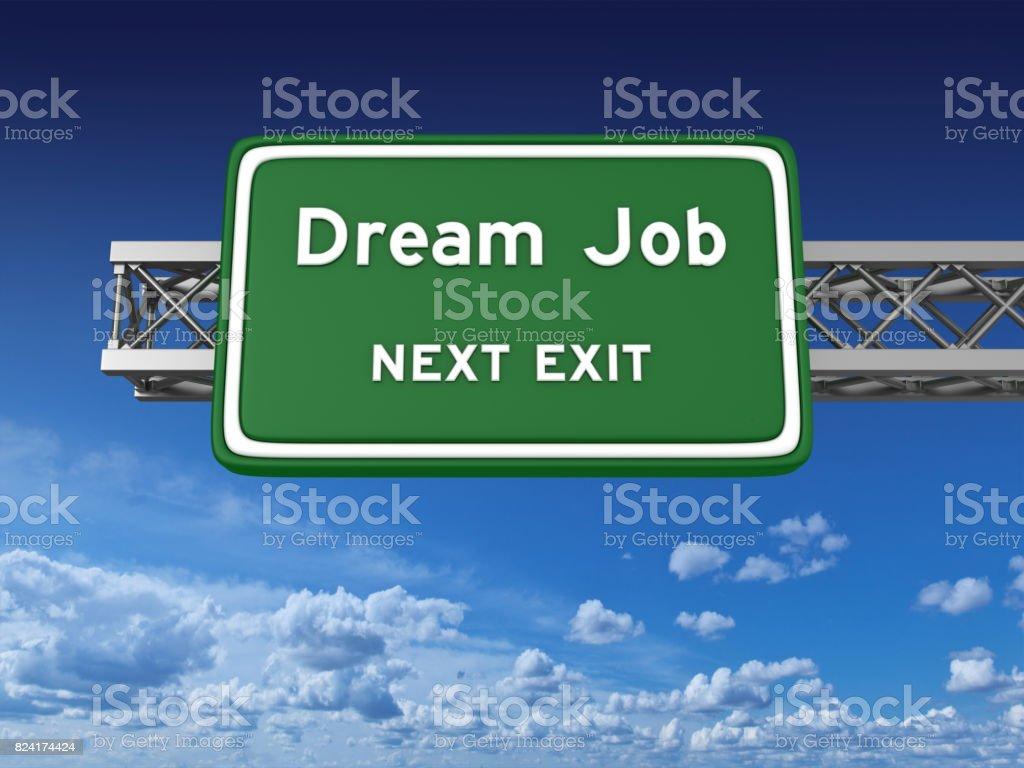 Dream Job Concept Highway Sign stock photo