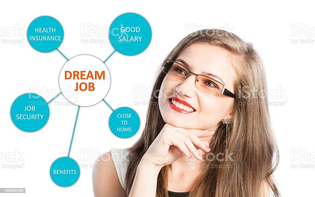 Dream job with benefits list stock photo
