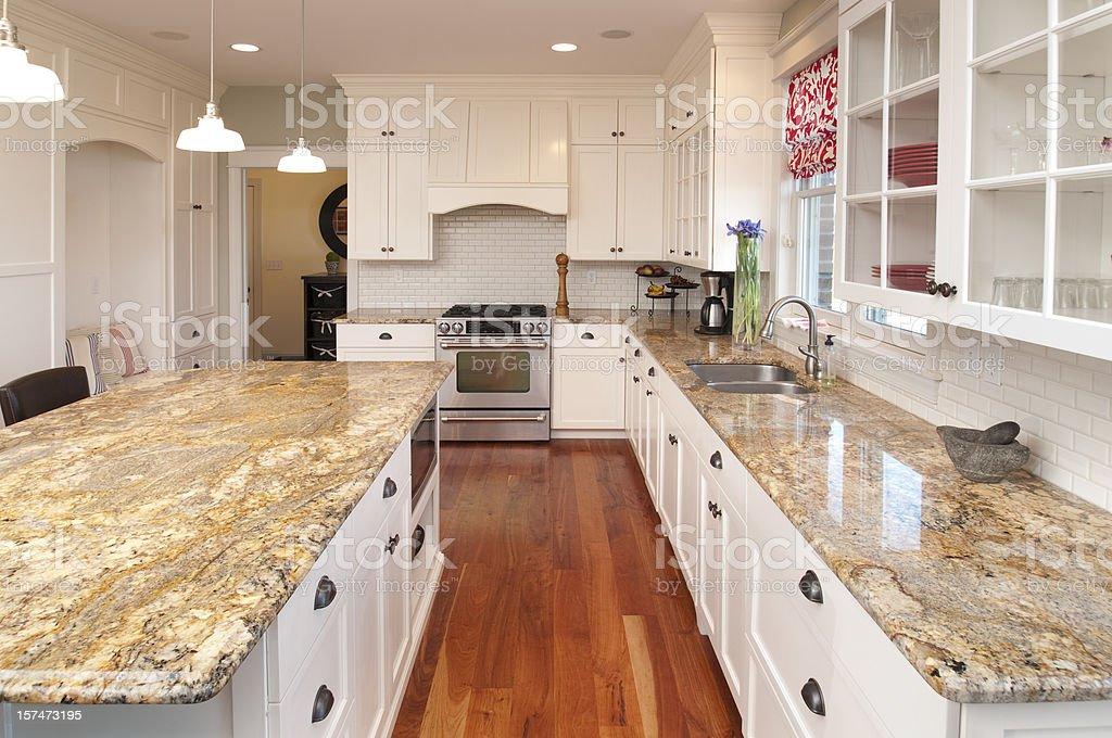 Sogno cucina piani di marmo illuminazione personalizzata pavimenti