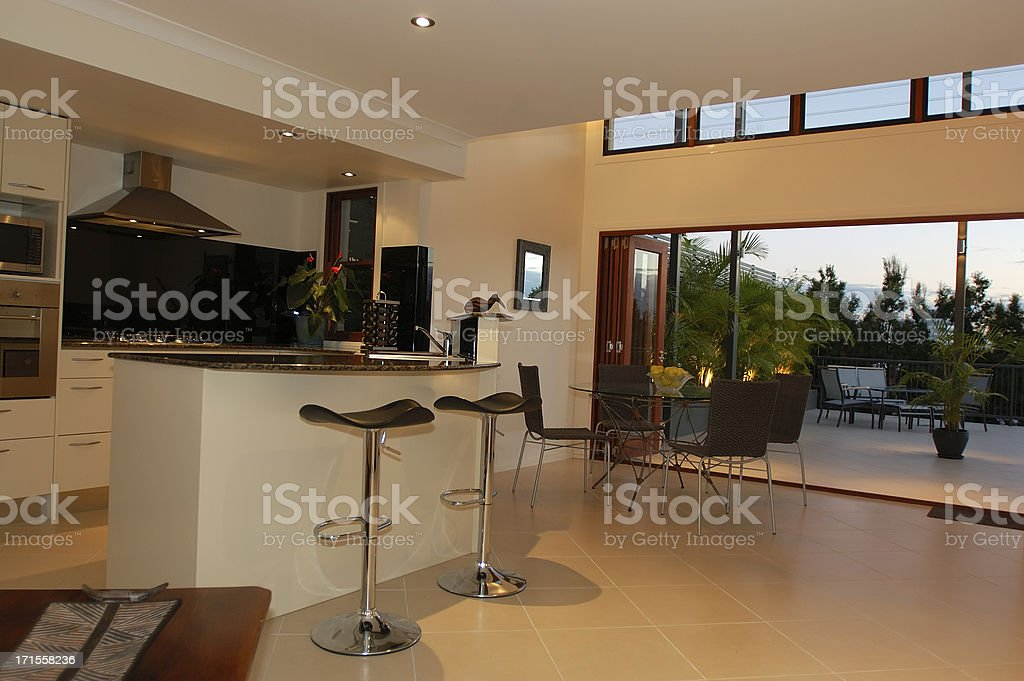 Dream Kitchen with tiled outside terrace stock photo
