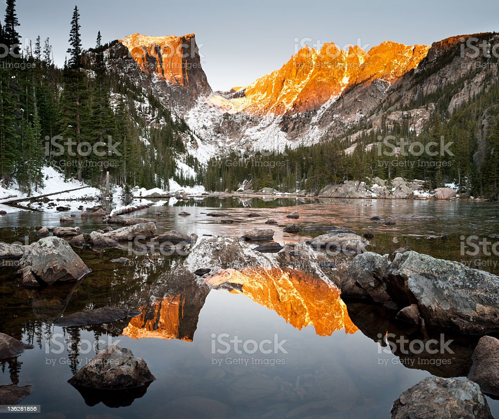 Dream Lake and Hallet Peak Alpenglow Reflection stock photo