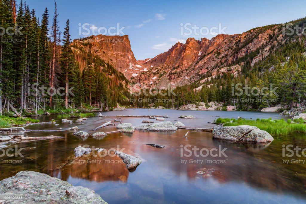 Dream Lake at Sunrise stock photo