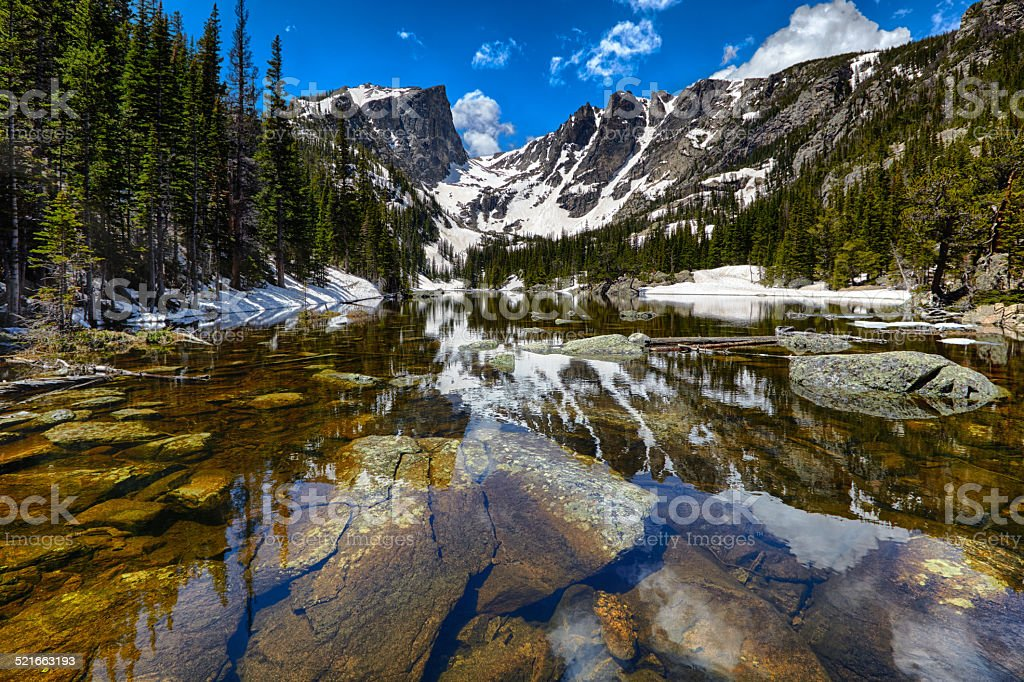 Dream Lake at the Rocky Mountain National Park stock photo