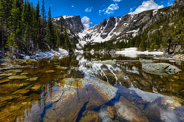 Dream Lake at the Rocky Mountain National Park Dream Lake at the Rocky Mountain National Park, Colorado, USA north stock pictures, royalty-free photos & images