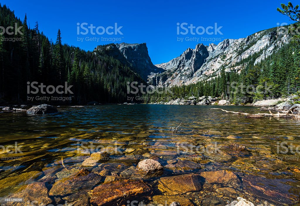 Dream lake, Rocky Mountain National park stock photo