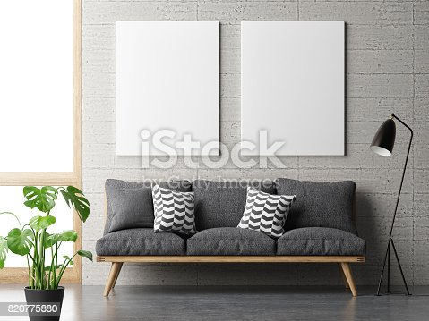 istock dream living room, minimalism concept with mock up posters on concrete wall 820775880