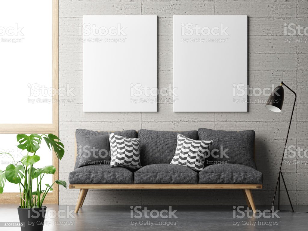 dream living room, minimalism concept with mock up posters on concrete wall stock photo