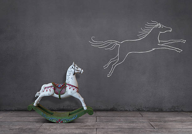 dream of rocking horse - changing form stock pictures, royalty-free photos & images
