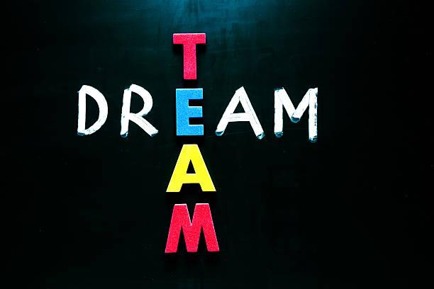 dream team konzept auf tafel - traum team stock-fotos und bilder