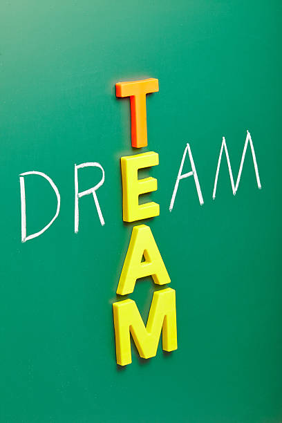 team words dream team words on blackboard pictures images and stock photos