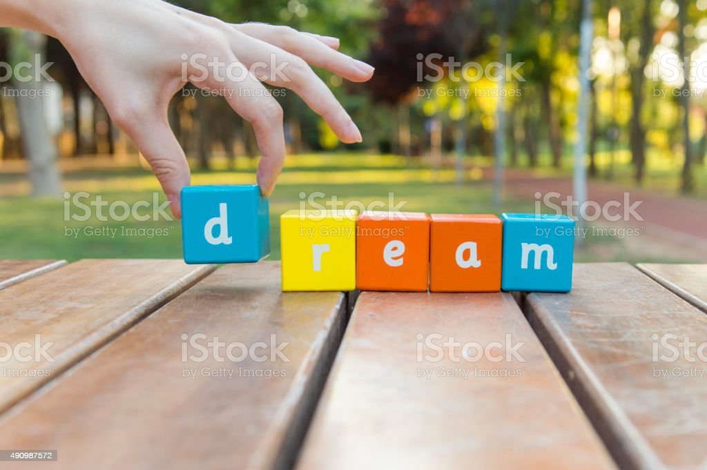 Dream, word and hand stock photo