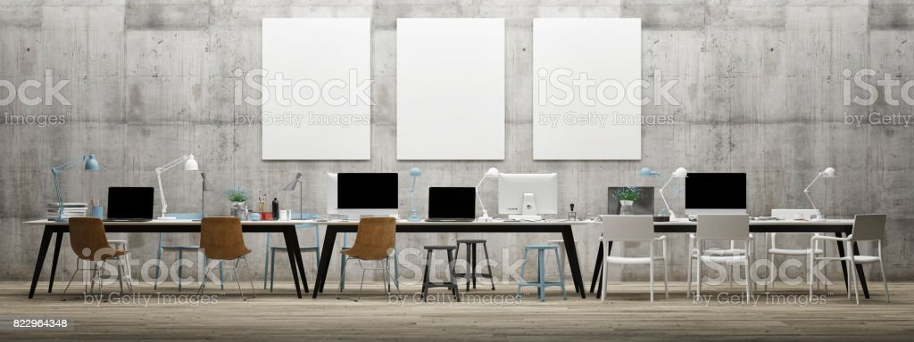 Dream work space office, three mock up poster on concrete wall - foto stock