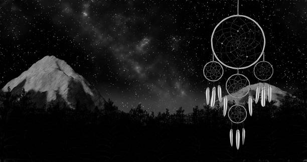 dreamcatcher auf eine nacht himmel hintergrund 3d illustration rendern - traumfänger zeichnung stock-fotos und bilder