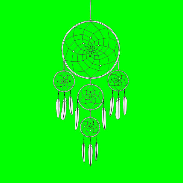dreamcatcher on green screen background 3d illustration render dreamcatcher on a green screen chroma key background 3d illustration render new age music stock pictures, royalty-free photos & images
