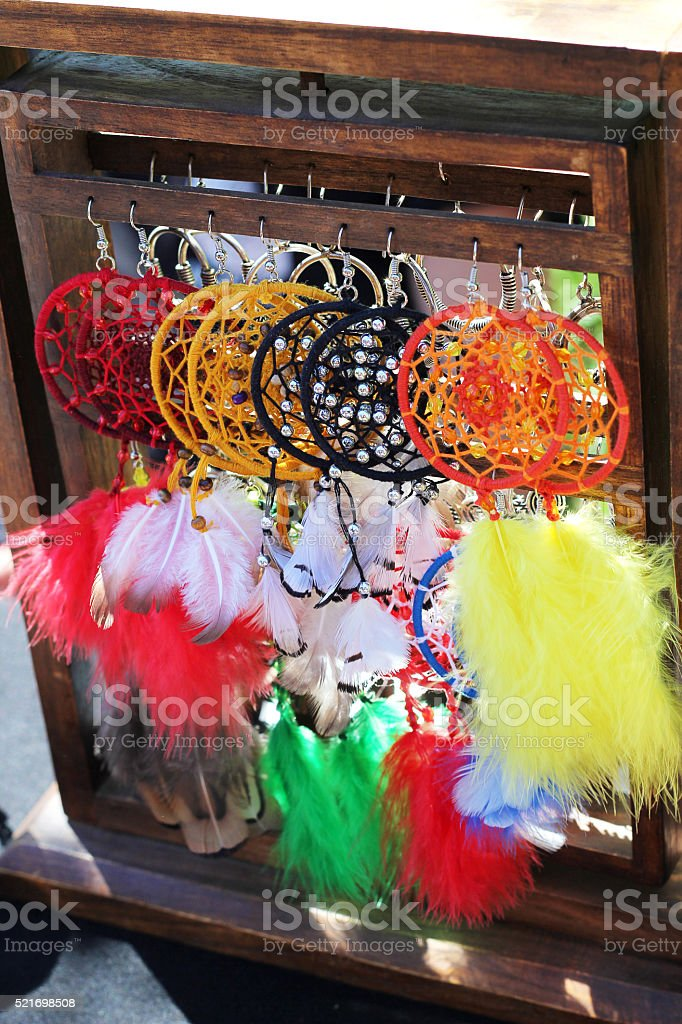 Dreamcatchers for sale in market stock photo