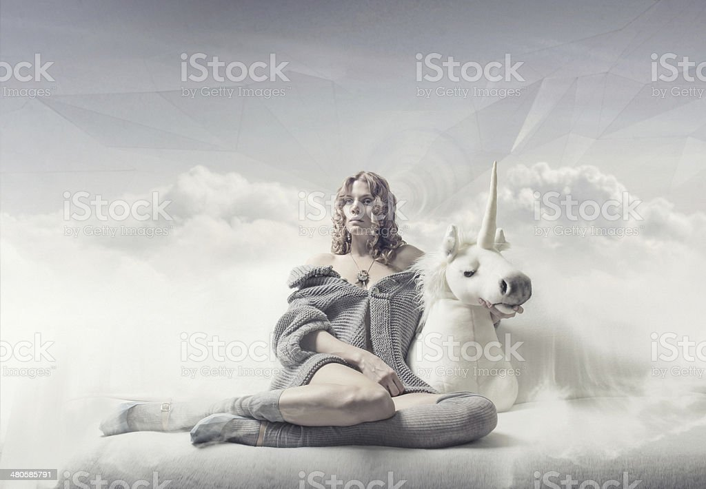 dreamer girl stock photo