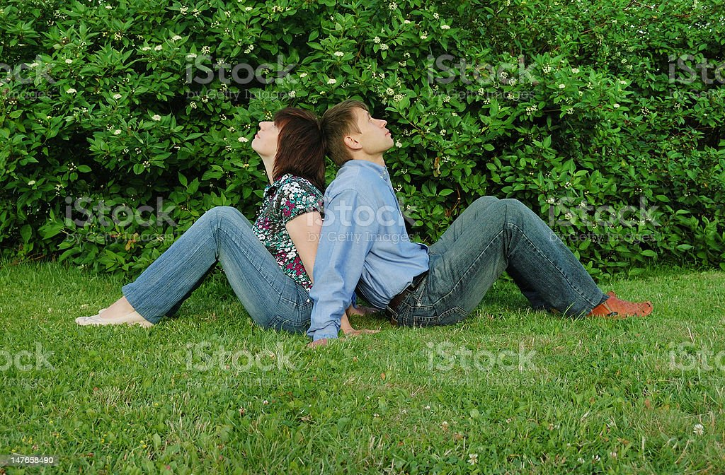 dreamers on grass stock photo