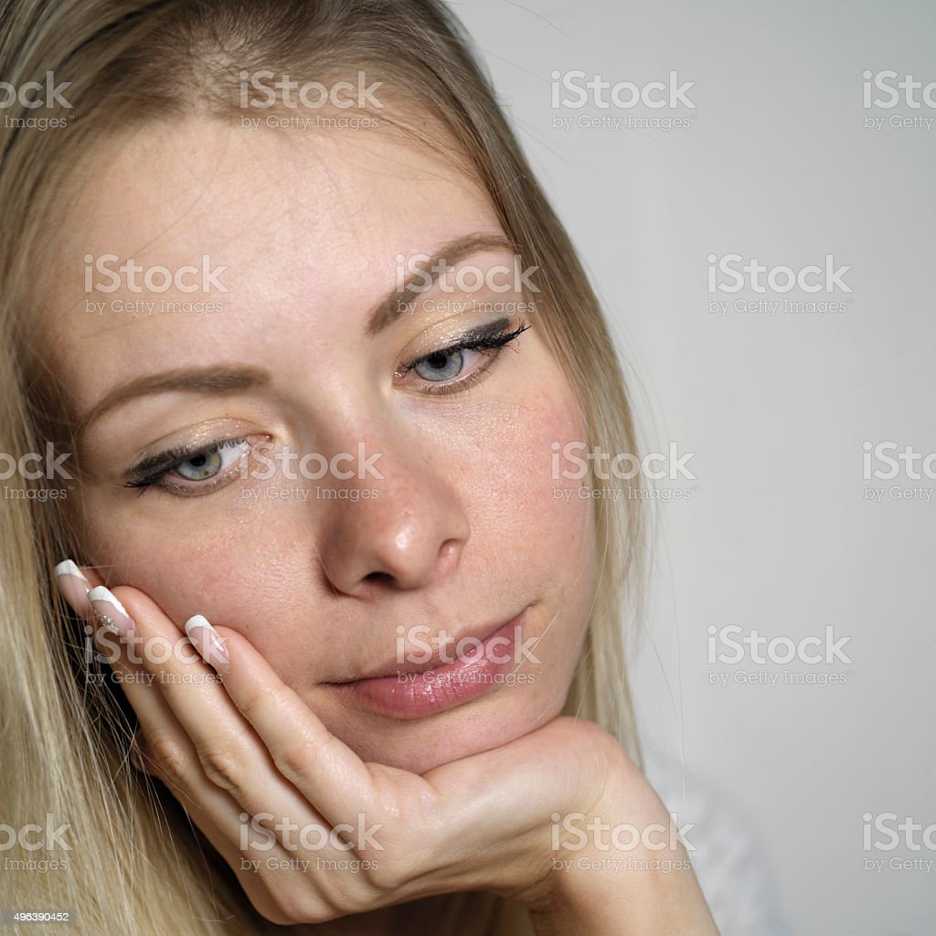 Dreamily Looking Woman stock photo