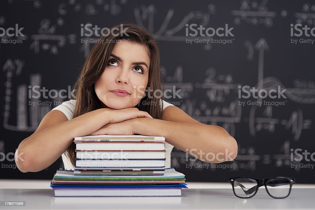 Dreaming female student portrait royalty-free stock photo