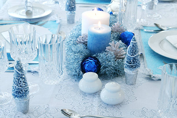 dreaming of a blue christmas! - blue table setting stock photos and pictures