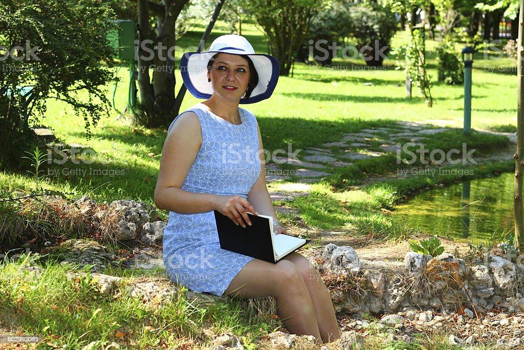 Dreaming of a happy woman stok fotoğrafı