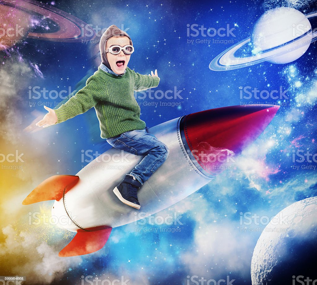 Dreaming of flying in space stock photo