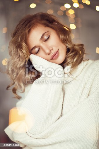 Dreaming Sensual Model In Sweater Stock Photo & More Pictures of Adult