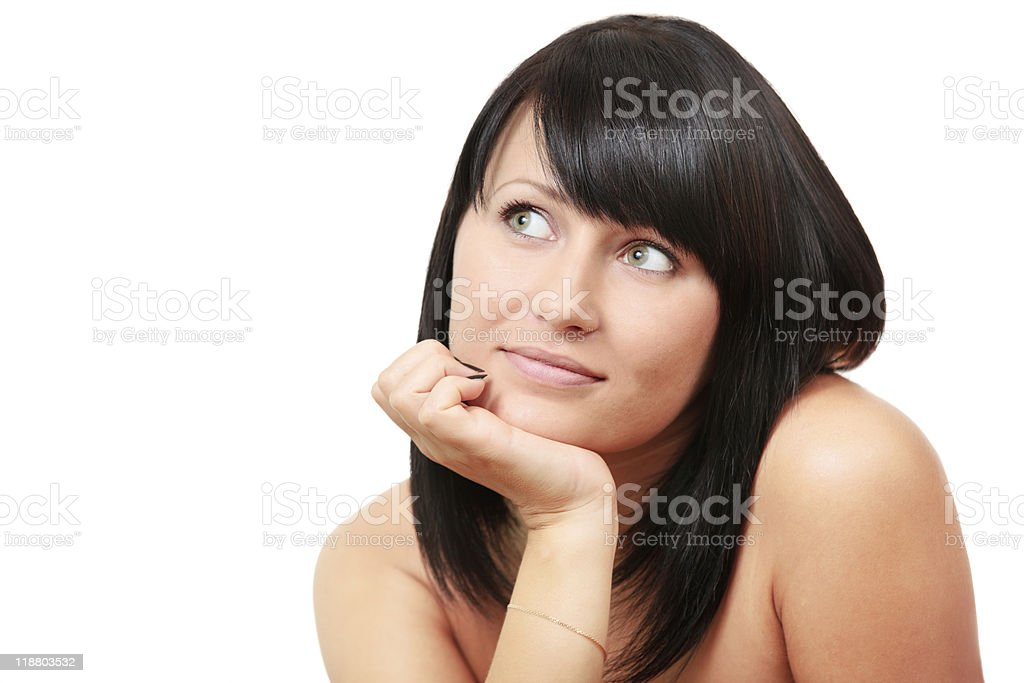 Dreaming sexy brunette woman royalty-free stock photo